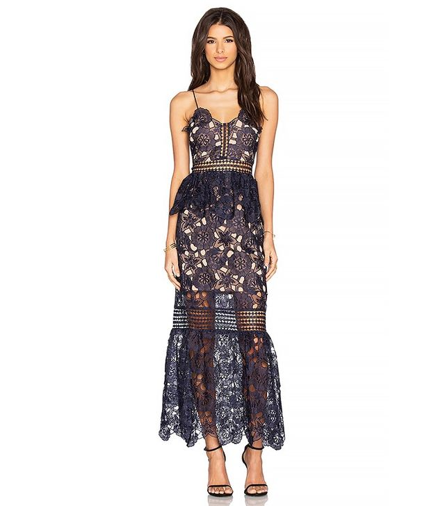 Self Portrait Amaryllis Sheer Column Dress