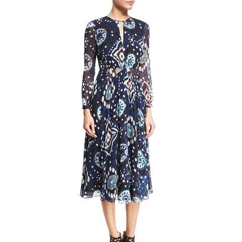 Long-Sleeve Floral Tie-Dye Midi Dress