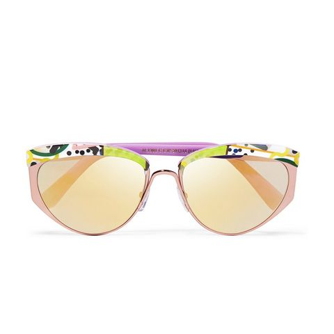 Round-Frame Acetate and Metal Mirrored Sunglasses