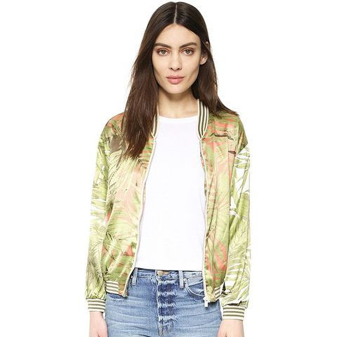 Palm Print Bomber Jacket