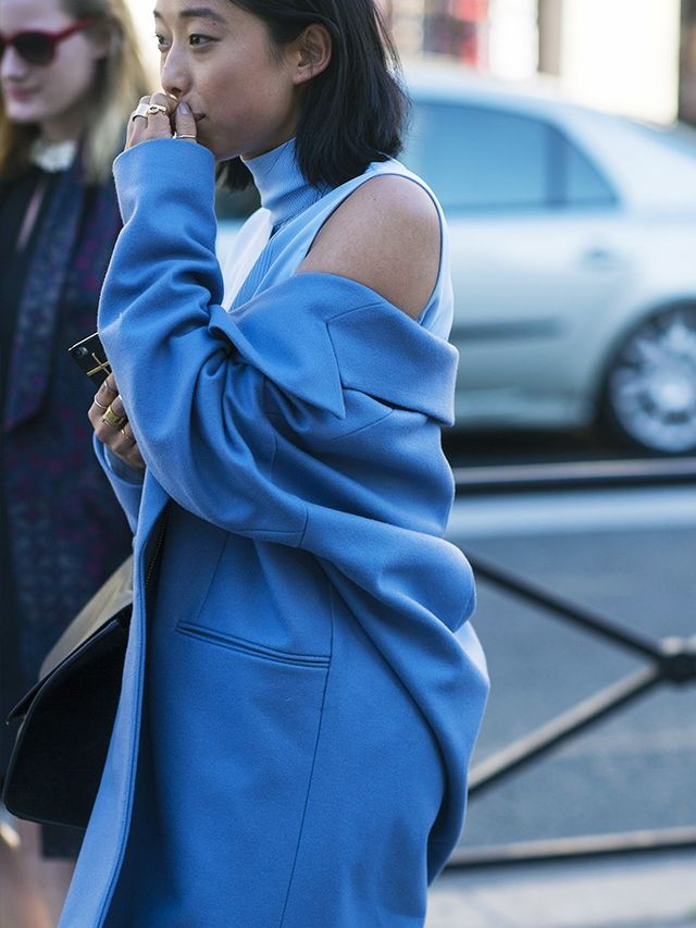 Style Notes: Margaret Zhang does this little trick with almost every coat or jacket she owns—this tonal combination is flattering and streamlined.