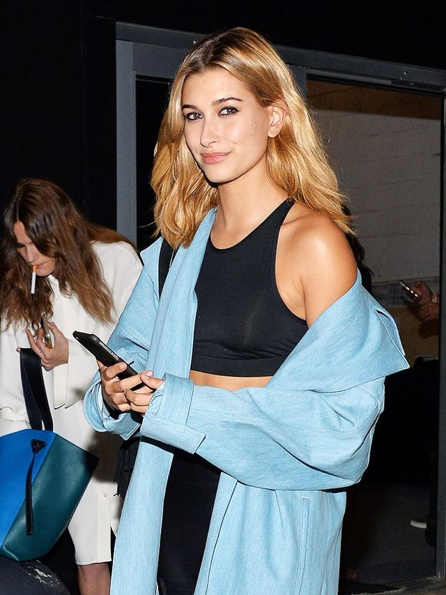 Style Notes: Playing peekaboo with your shoulder, à la Hailey Baldwin, is a good idea after dark.
