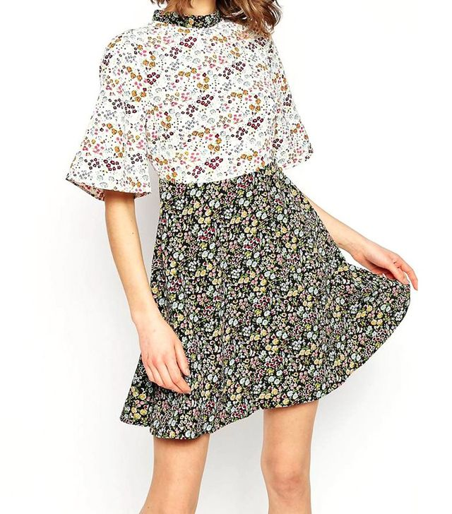 ASOS Ditsy Floral Printed Skater Dress