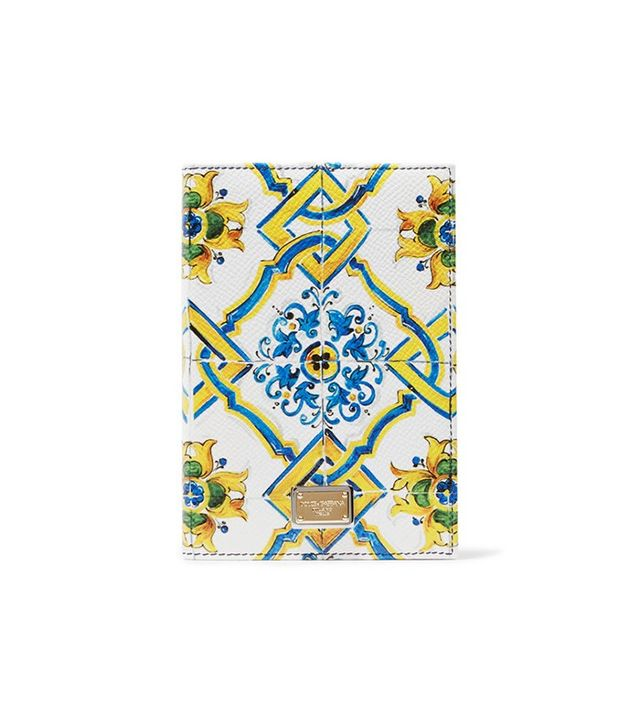 Dolce & Gabbana Printed Textured-Leather Passport Holder
