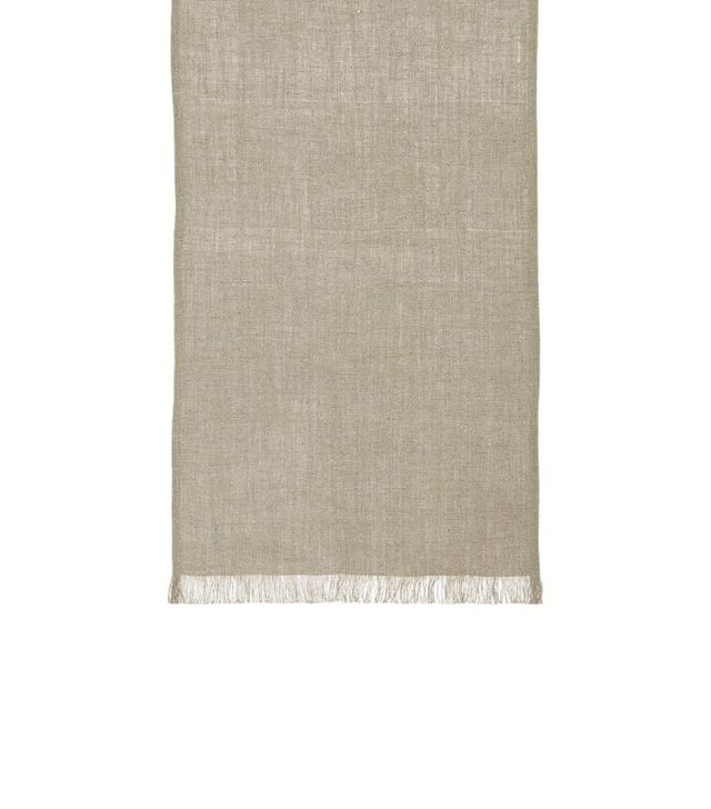 Crate and Barrel Beckett Natural Linen Table Runner