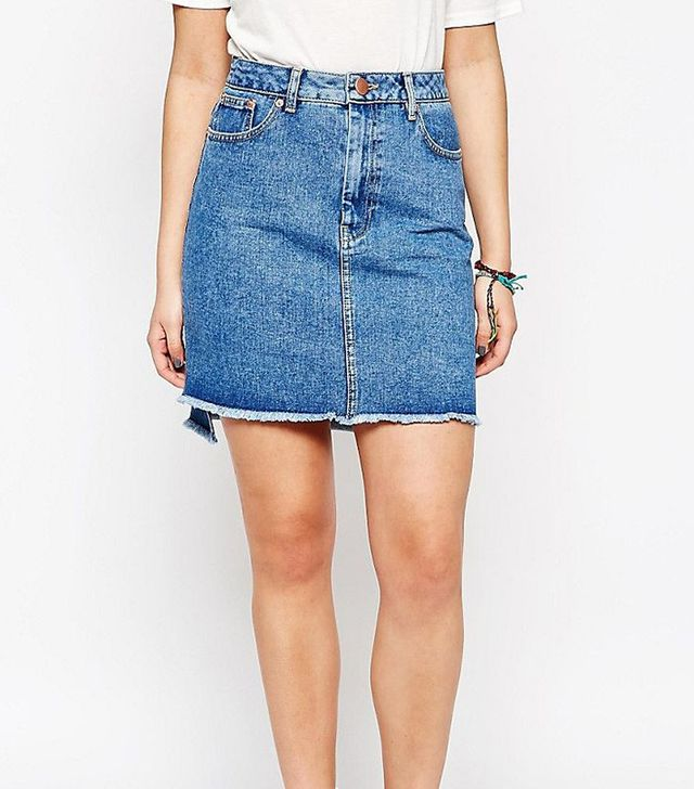 ASOS Denim Pencil Skirt With Step Hem in Mid Wash Blue