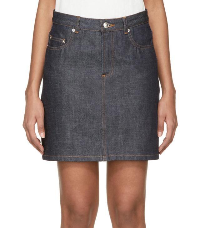 A.P.C. Indigo Denim Miniskirt