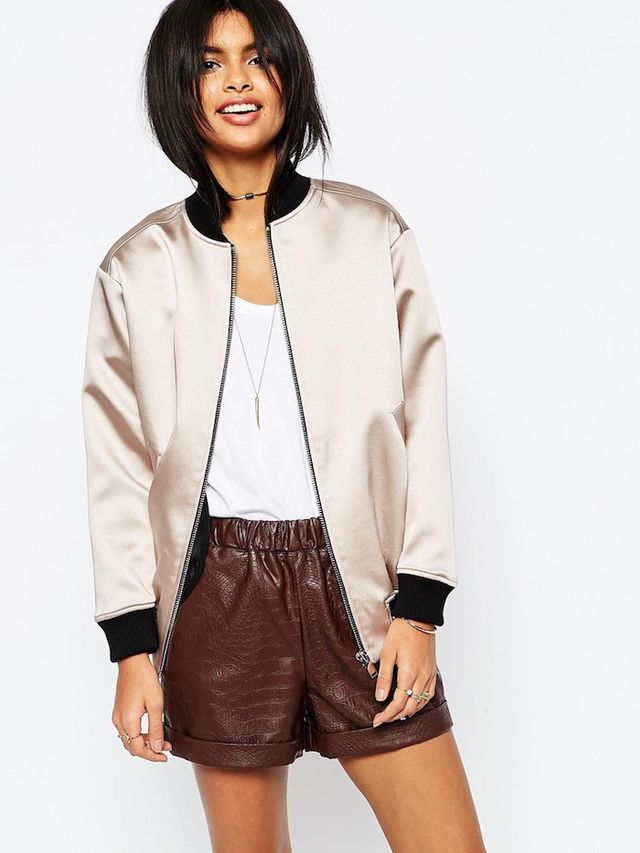 ASOS Satin Bomber Jacket with Contrast Rib
