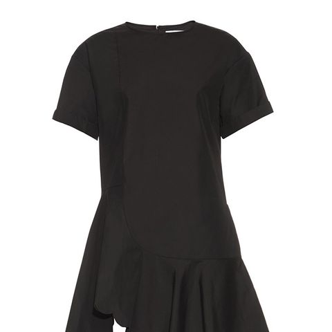 Scalloped-Hem Cotton Mini Dress