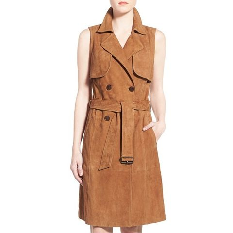 Sleeveless Suede Trench Dress