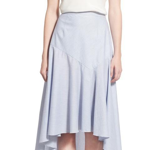 Drape Poplin Midi Skirt
