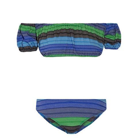 Leandra Off-the-Shoulder Striped Stretch Cotton-Blend Bikini