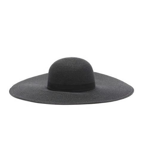 Wide-Brim Floppy Straw Hat