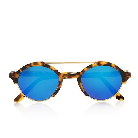Milan IV Round-Frame Metal and Acetate Mirrored Sunglasses