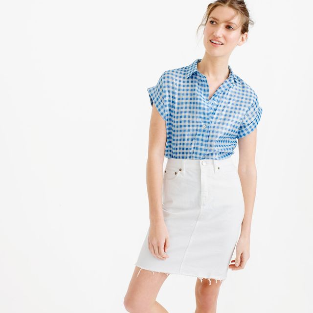 J.Crew Short-Sleeve Popover Shirt in Metallic Gingham