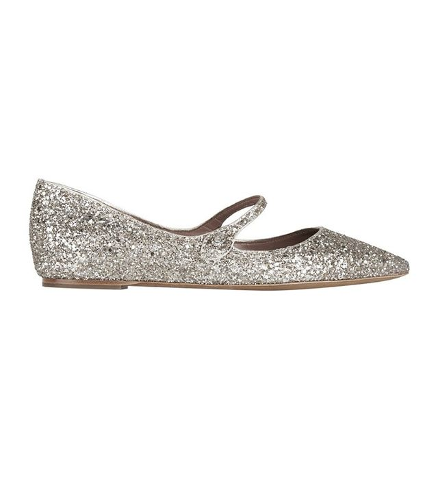 Tabitha Simmons Hermione Glittered Leather Point-Toe Flats