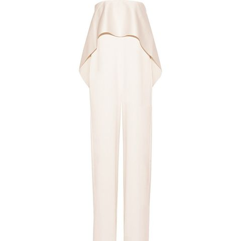 Cadenza Strapless Ruffled Bonded Satin Jumpsuit