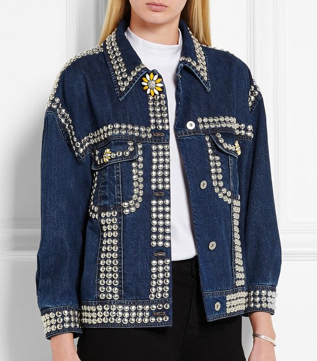 Miu Miu Oversized Embellished Denim Jacket
