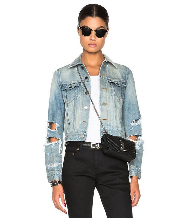 Saint Laurent Oversize Shredded Denim Jacket