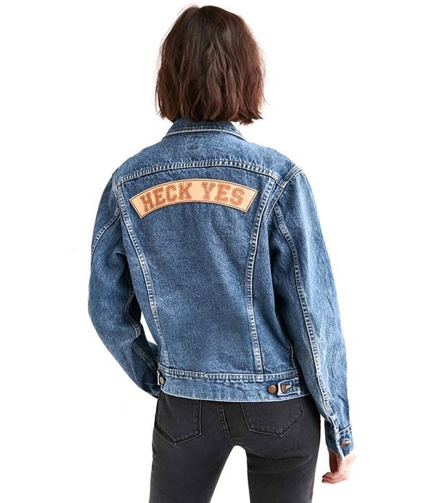 US by Understated Leather for UO Slogan Denim Trucker Jacket