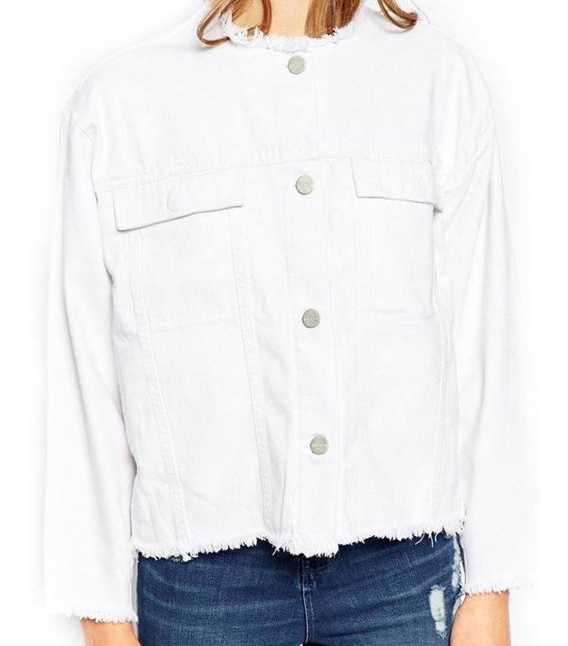 ASOS Waven Hanna Crop Denim Jacket With Raw Edge Detail