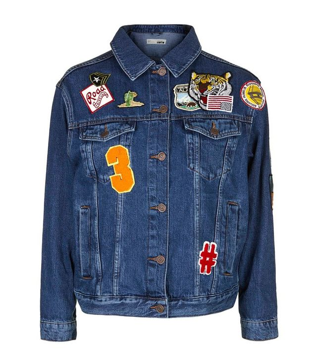 Topshop Tall Moto Badged Denim Jacket