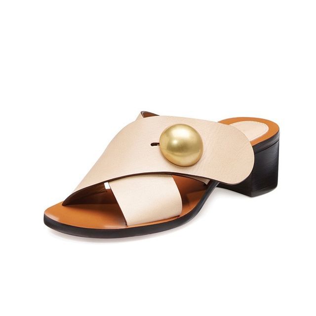Chloé Button Crisscross Leather Slide Sandal
