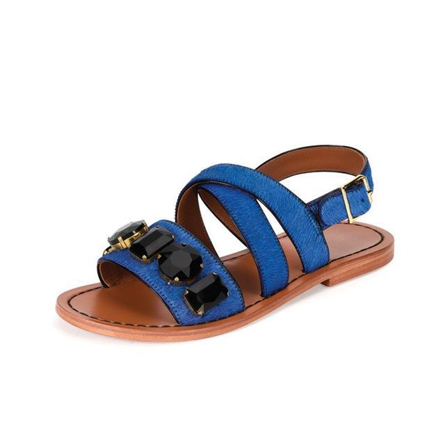 Marni Jeweled Calf-Hair Flat Slingback Sandal