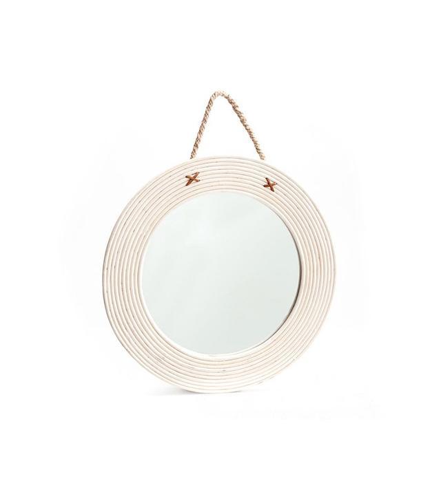 Zara Home Round Wood and Jute Mirror