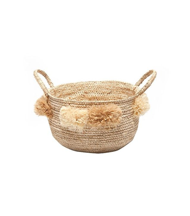 Zara Home Round Basket With Handles and Pom Poms