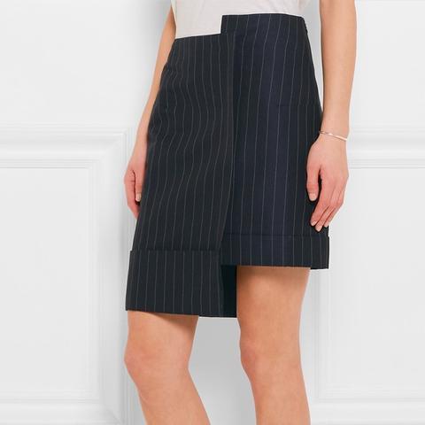 Asymmetric Pinstriped Skirt