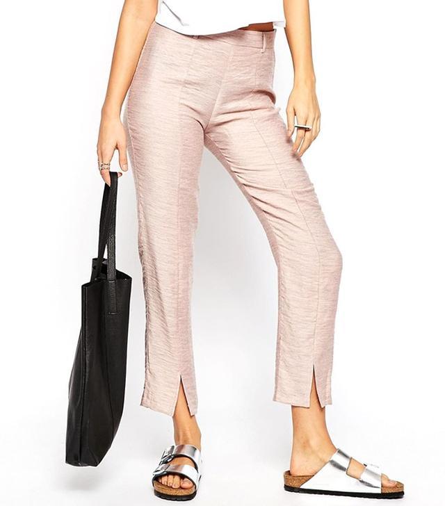 ASOS Premium Linen Cigarette Pants With Front Splits