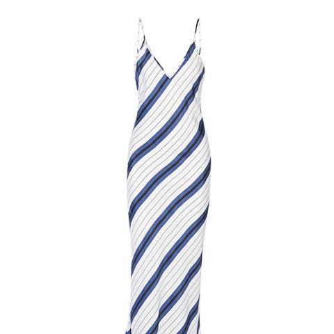 Striped Silk Twill Midi Dress