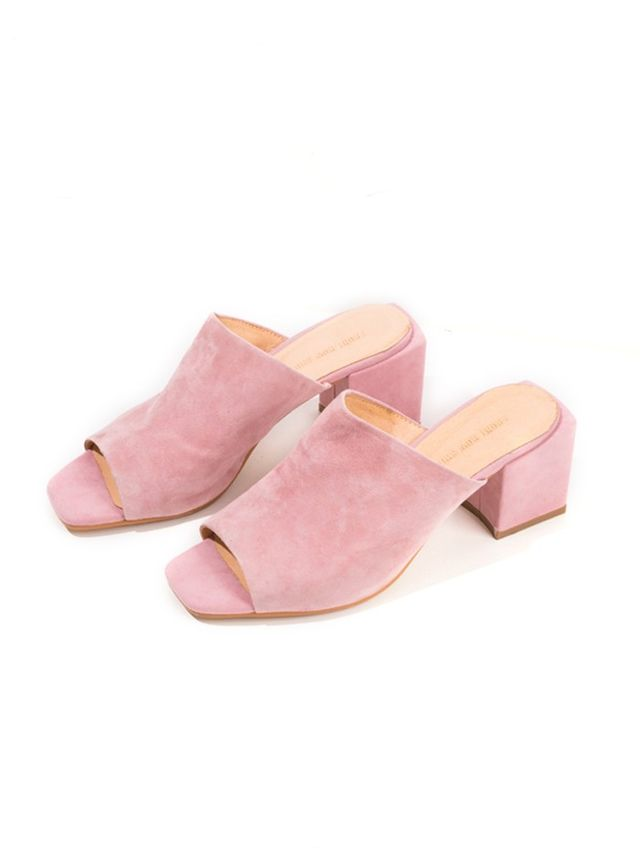 Front Row Shop Pink Suede Mules