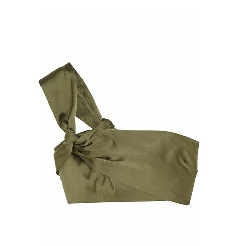 One-Shoulder Cropped Satin Top