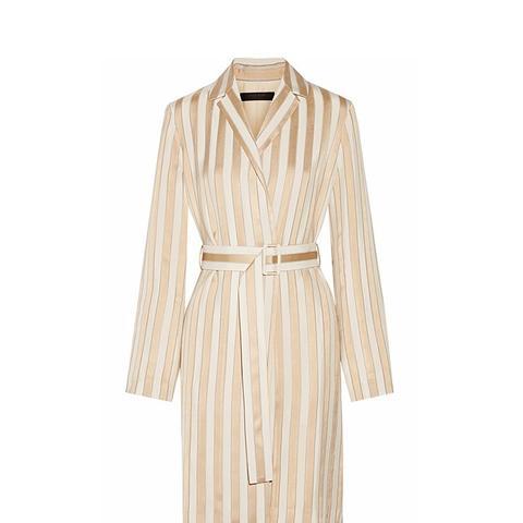 Stervis Belted Striped Jacquard Coat