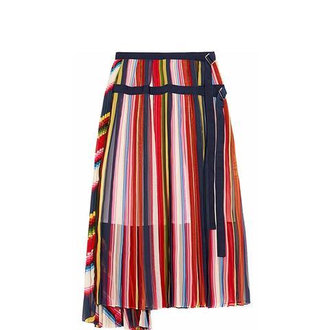 Grosgrain-Trimmed Pleated Skirt