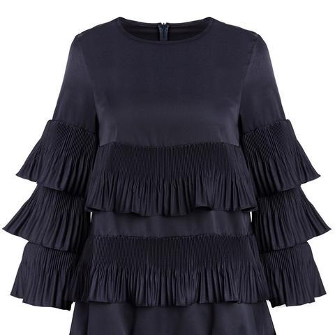 Dark Navy Pleated Ruffled Babydoll Dress