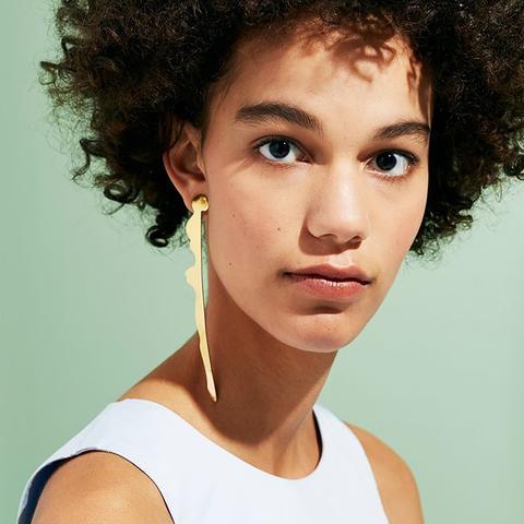 Shiny Gold Swizzle Stick Earrings