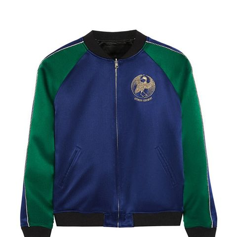 Reversible Embroidered Silk-Satin Bomber Jacket
