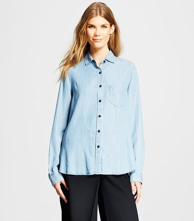 Who What Wear x Target Pleat Back Chambray Shirt
