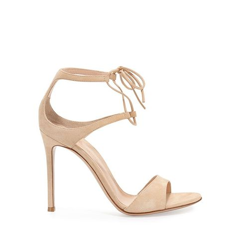 Suede Double Ankle-Wrap Sandal