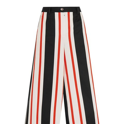 Cropped Striped Wide-Leg Pants