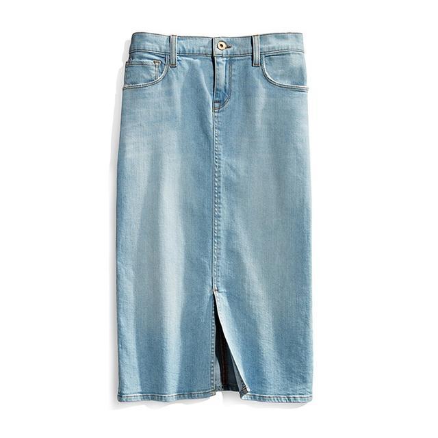 Baldwin Kylie Mid Length Denim Skirt Osaka Bay Extracted Indigo