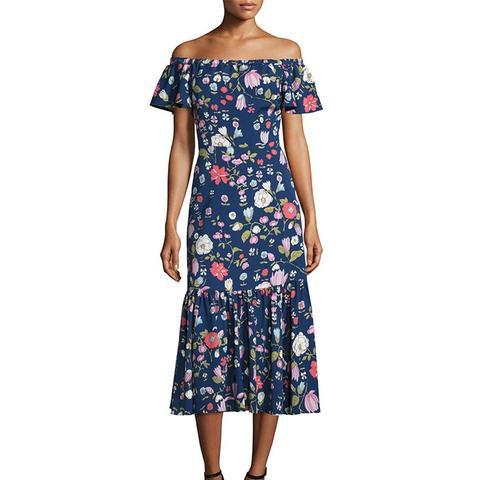 Cap-Sleeve Floral Silk Midi Dress