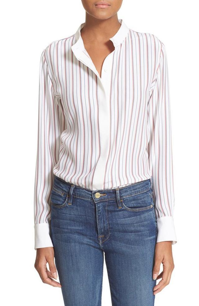 Frame 'Le Classic' Stripe Silk Blouse