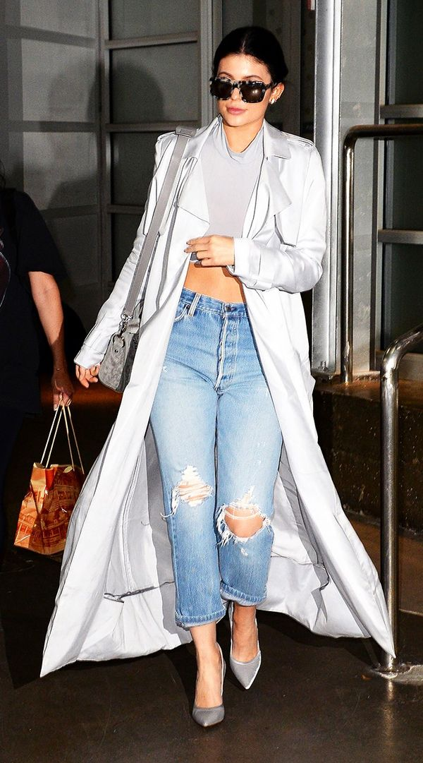 She can make any pair of jeans look chic by way of a silky duster and statement pumps.