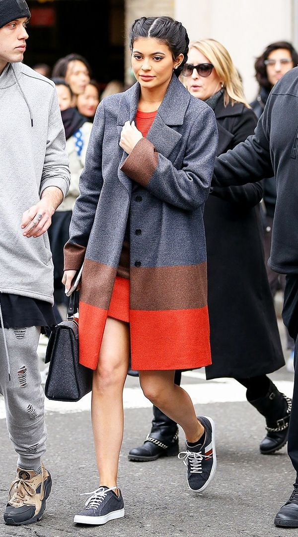She knows how to make a pair of sneakers look polished. Instead of the expected casual counterparts, Kylie wore hers with an elevated coat and a posh handbag.