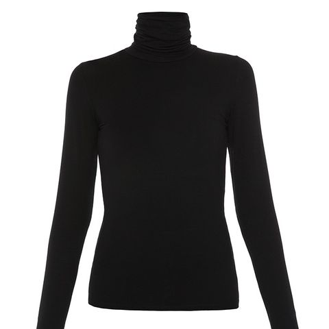 Black Modal Turtleneck Top