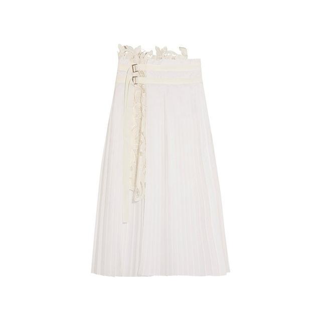 Sacai Pleated Poplin Wrap Skirt